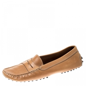 Tod's Tan Leather Gommino Driver Loafers Size 39