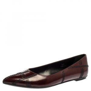 Tods Burgundy Leather Embroidered Pointed Toe Flats Size 40 - used