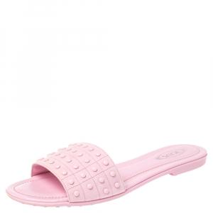 Tod's Pink Studded Suede Flat Slide Sandals Size 38.5