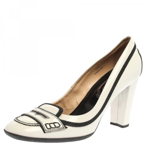 Tod's White Patent Leather 'Jodie' Penny Loafer Pumps Size 38.5