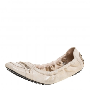 Tod's Cream Metallic Suede Braided Detail Square Toe Scrunch Flats Size 38