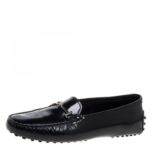 Tod's Black Leather Double T Slip On Loafers Size 38