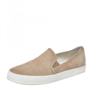 Tod's Beige Suede Espadrille Slip-On Sneakers Size 40