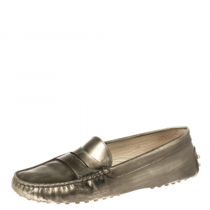Tod's Metallic Olive Patent Leather Penny Slip On Loafers Size 38