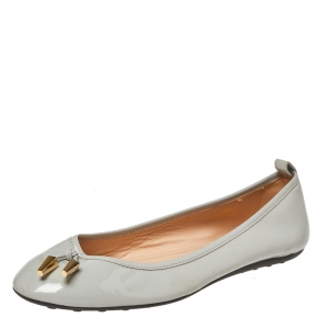 Tod's Grey Patent Leather Studded Ballet Flats Size 38.5