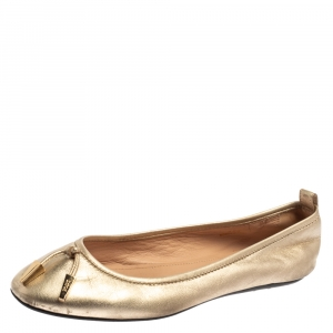 Tod's Gold Leather Studded Ballet Flats Size 35.5