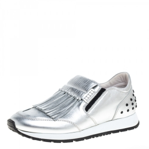 Tod's Silver/Black Leather Fringed Slip On Sneakers Size 37.5