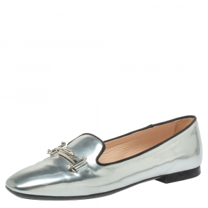 Tod's Metallic Silver Patent Leather  Double T-Smoking Slippers Size 36.5