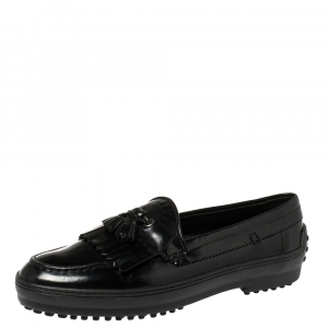 Tod's Black Leather Fringe Tassel Loafers Size 39.5