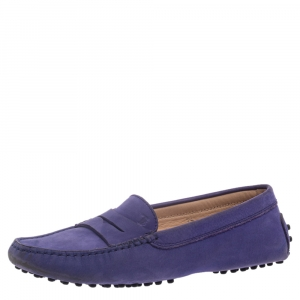 Tod's Purple Nubuck Gommino Penny Loafers Size 36