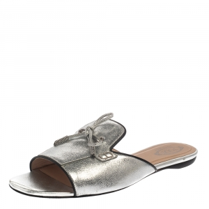 Tod's Metallic Silver Leather Open Toe Flat Slides Size 39