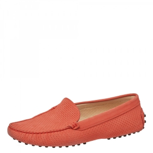 Tod's Orange Perforated Leather Loafers Size 38