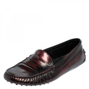 Tod's Two Tone Leather Gommino Penny Slip On Loafers Size 38.5