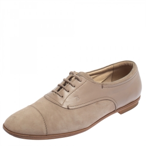 Tod's Beige Suede Lace Up Oxfords Size 41