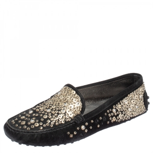 Tod's Black Suede Gommino Ricamo Spray Sequined Loafers Size 37.5