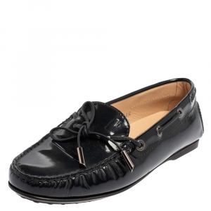 Tod's Blue Patent Leather City Gommino Driving Loafers Size 36.5