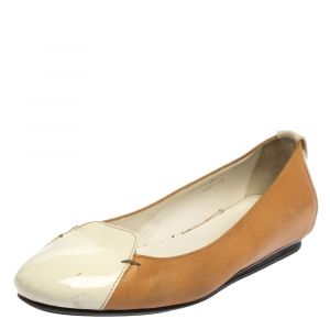 Tod's White/Brown Patent And Leather Ballet Flats Size 36