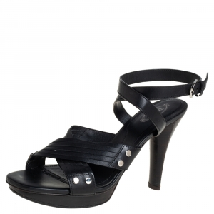 Tod's Black Leather Crisscross Strap Sandals Size 40