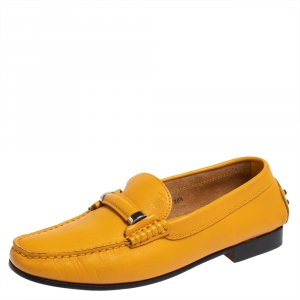 Tod's Yellow Leather Slip On Loafers Size 38.5