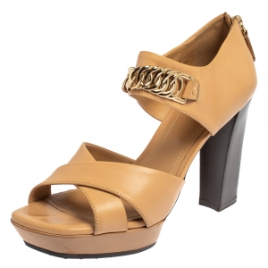 Tod's Beige Leather Criss Cross Chain Link Block Heel Sandals Size 38