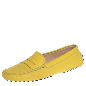 Tod's Yellow Leather Penny Slip On Loafers Size 37.5