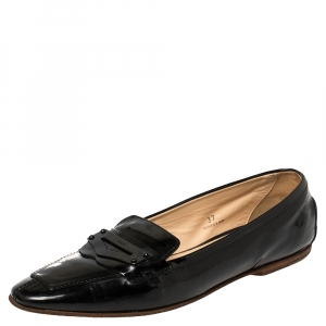 Tod's Black Patent Leather Penny Loafers Size 37