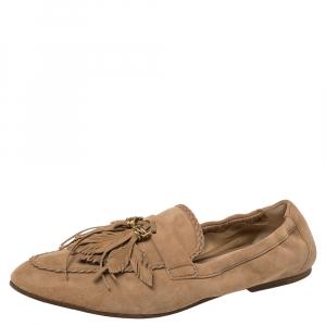 Tod's Beige Suede Tassel Loafers Size 39