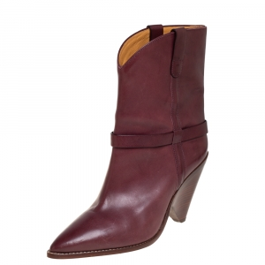 Isabel Marant Burgundy Leather Ankle Boots Size 41 - used