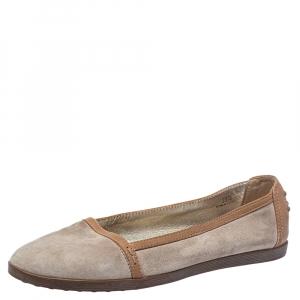حذاء فلات باليه تودز سويدي بيج/ بني مقاس 38.5