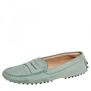 حذاء لوفرز تودز بيني سليب أون جلد نوبوك رمادي مقاس 37.5