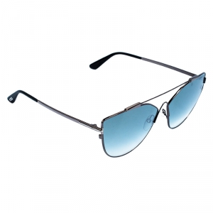 Tom Ford Gunmetal Tone/ Blue Gradient TF563 Jacquelyn Cat Eye Sunglasses
