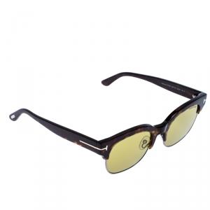 Tom Ford Brown/Green Tortoise Harry-02 Half Rim Sunglasses