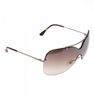Tom Ford Brown Mirrored Gradient TF519 Ondria Shield Sunglasses