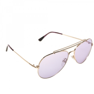 Tom Ford Purple/Gold Metal Indiana Aviator Sunglasses