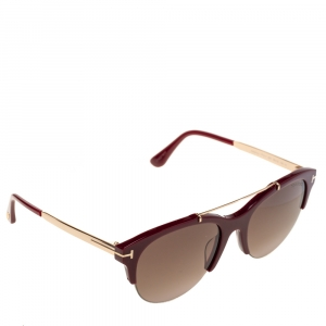 Tom Ford Maroon/Black Gradient Adrenne Oval Sunglasses