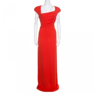Tom Ford Red Silk Draped Power Shoulder Sleeveless Evening Gown L