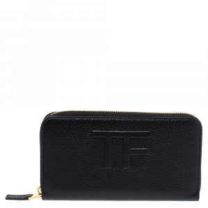 Tom Ford Black Leather Zip Around Wallet