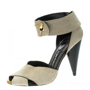 Tom Ford Beige Suede Cross Ankle Wrap Peep Toe Sandals Size 37