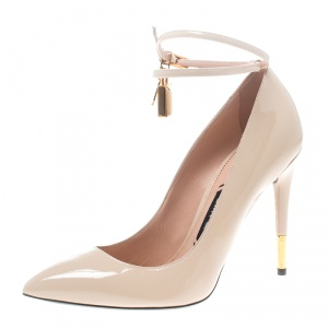 Tom Ford Beige Patent Leather Padlock Ankle Wrap Pointed Toe Pumps Size 38