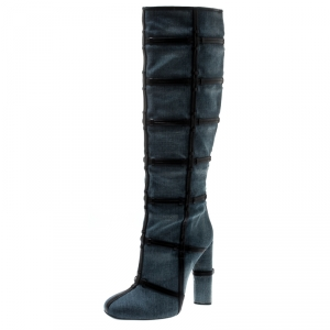 Tom Ford Denim And Leather Trim Patchwork Knee Length Boots Size 40.5