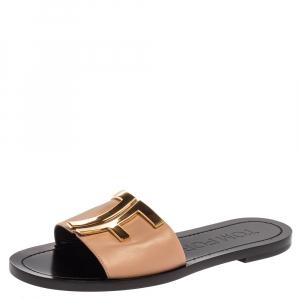 Tom Ford Beige/Black Leather TF Slide Sandals Size 38
