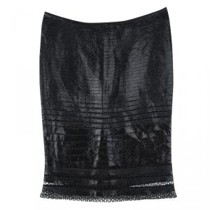 Tom Ford Black Cutout Lace Detail Tiered Pencil Skirt S