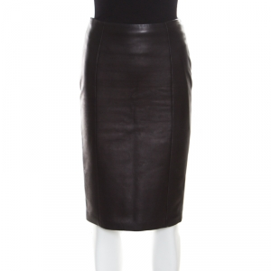 Tom Ford Brown Leather Paneled Perversity Pencil Skirt XS