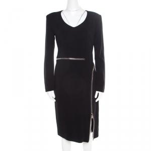 Tom Ford Black Zip Detail Long Sleeve Dress M