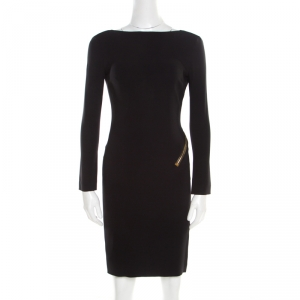 Tom Ford Black Stretch Crepe Open Back Zip Detail Long Sleeve Dress M