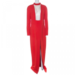 Tom Ford Scarlet Red Stretch Crepe Mesh Paneled Gown L - used