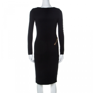 Tom Ford Black Stretch Crepe Zip Detail Open Back Sheath Dress XS