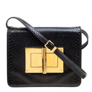 Tom Ford Black Snakeskin Medium Natalia Shoulder Bag