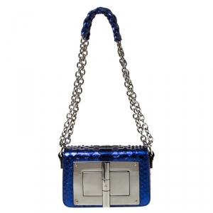 Tom Ford Electric Blue Python Mini Natalia Crossbody Bag