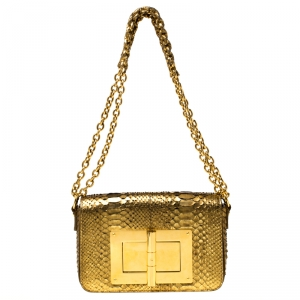 Tom Ford Gold Python Natalia Shoulder Bag